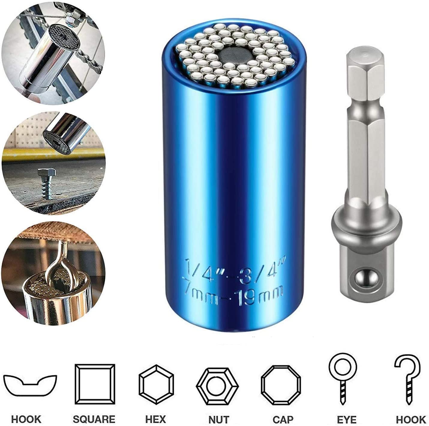 Blue 7-19mm Universal Socket PONFLY 1//4-3//4 Professional Sockets Tools 6Pcs Multi-function Wrench Repair Kit with Power Drill /& Ratchet Wrench Adapter Chrome Vanadium Steel
