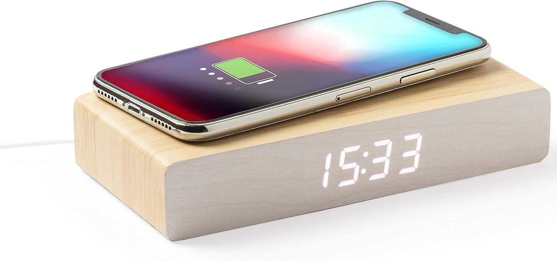 MKTOSASA - Reloj de línea Nature con Cargador inalámbrico Integrado. con función Fecha y Hora, Alarma y termómetro - 16.2x3.1x7.8 MDF.
