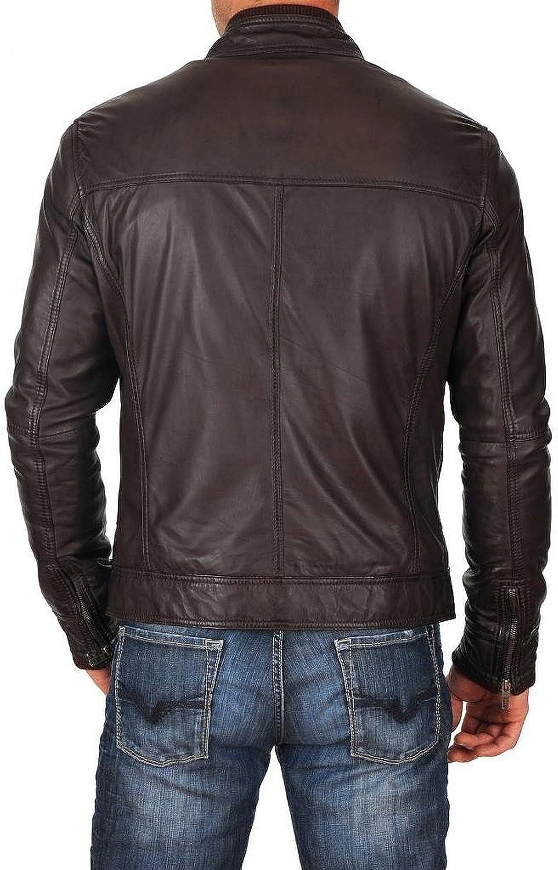 New Mens Genuine Lambskin Leather Slim Fit Biker Motorcycle Jacket for Men T477
