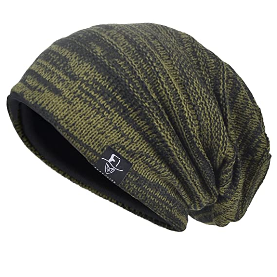 eddc30787e81b1 JESSE · RENA Men's Slouch Beanie Skull Cap Lined Oversize Baggy Winter Hat  CFB5001 (Army