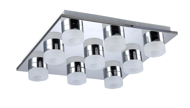 WOFI LED Logan Deckenleuchte, Metall, 4.2 W, Chrom, 42 cm cm cm x 42 cm b54333