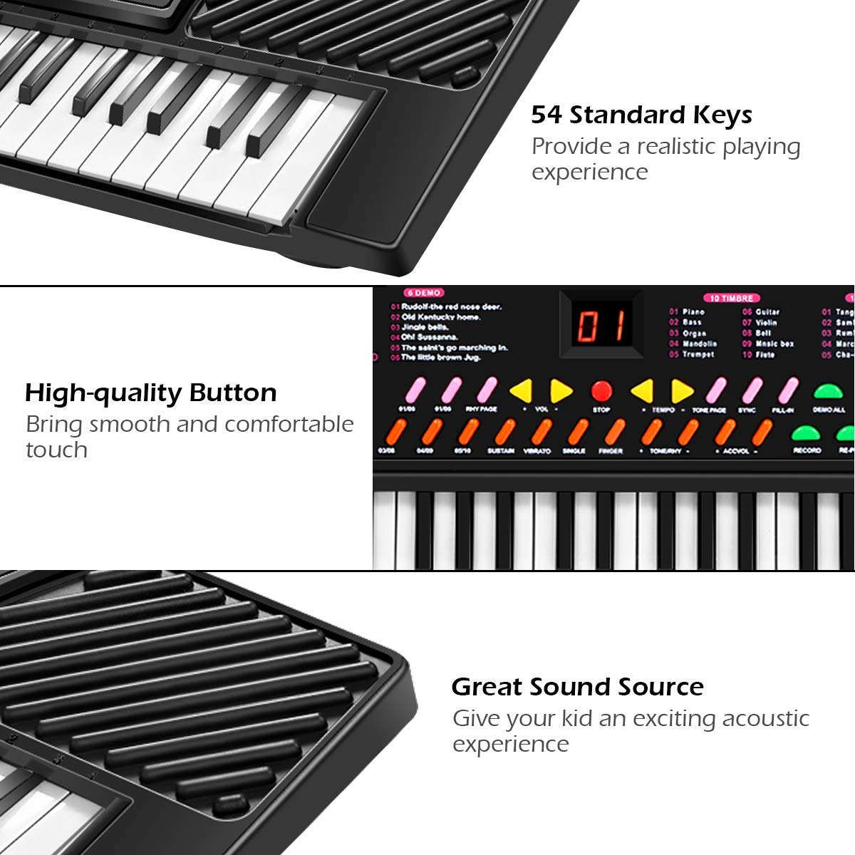 Tangkula 54-Key Electronic Keyboard for Kids Beginners with Mic & Adapter Including LED Digital Display, Learning Function & Demo Songs Standard Accordion Keys Piano Keyboard (Black) by TANGKULA (Image #5)