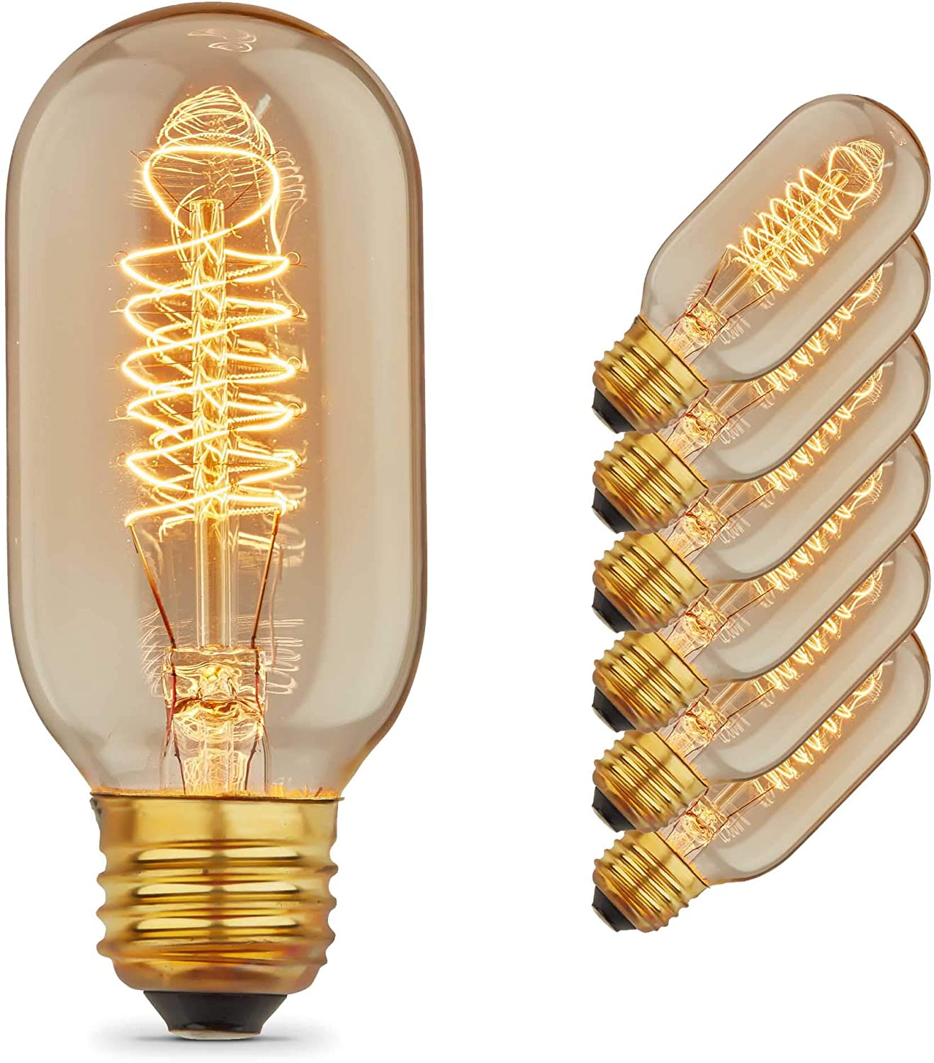 Set of 3 Edison Torch Spiral Filament Bulb in Antique
