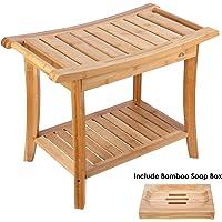 HOMECHO Tabuerte de Ducha de Bambú con Estante