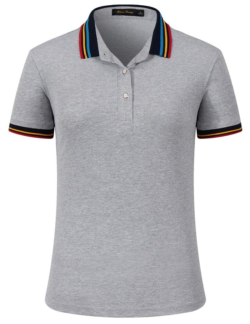 Mitario Femiego Women Classic Rainbow Stripe Collar Slim Fit Short Golf Polo Shirt Gray S