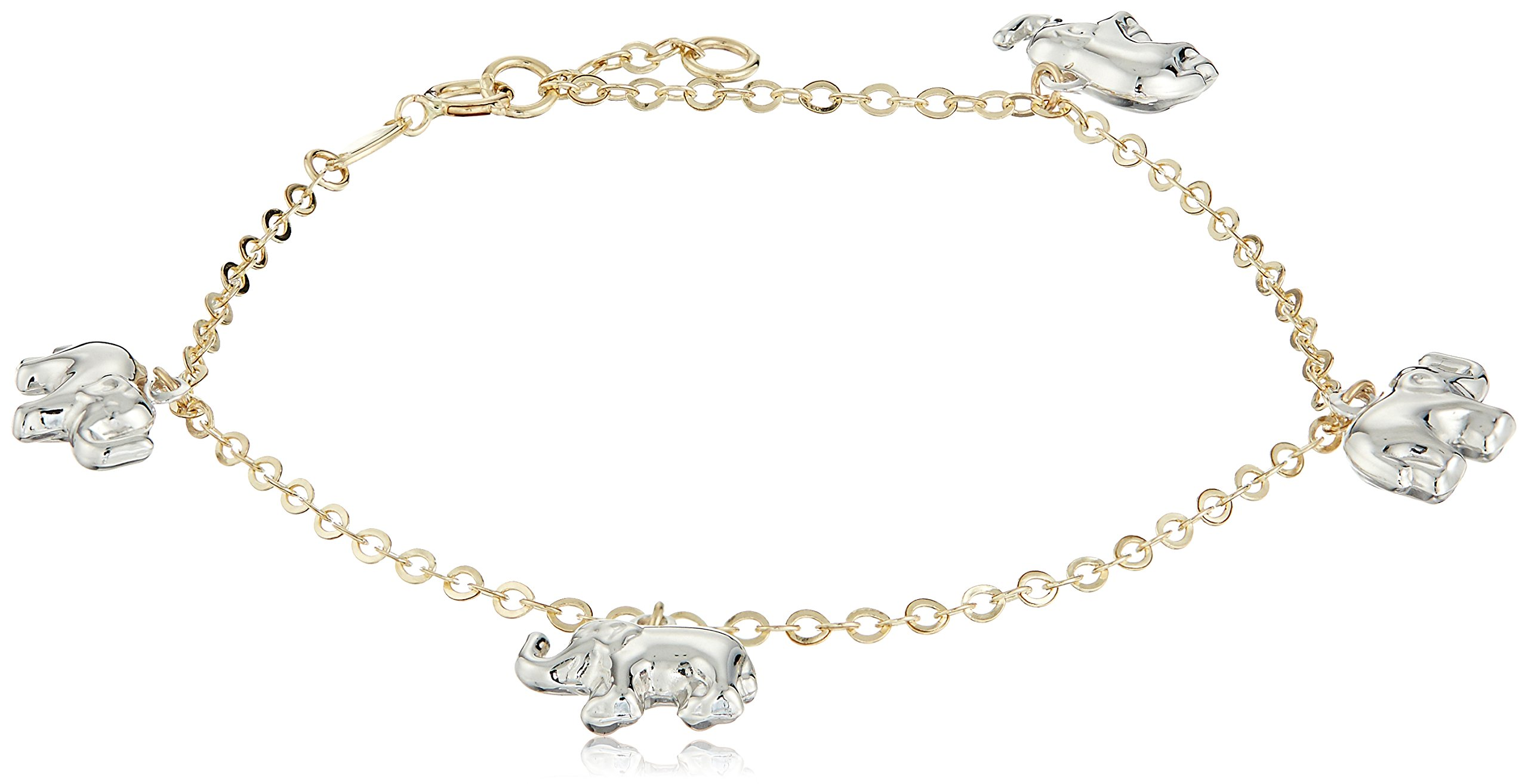 14k White and Yellow Gold Four Elephants Charm Bracelet, 7.5''