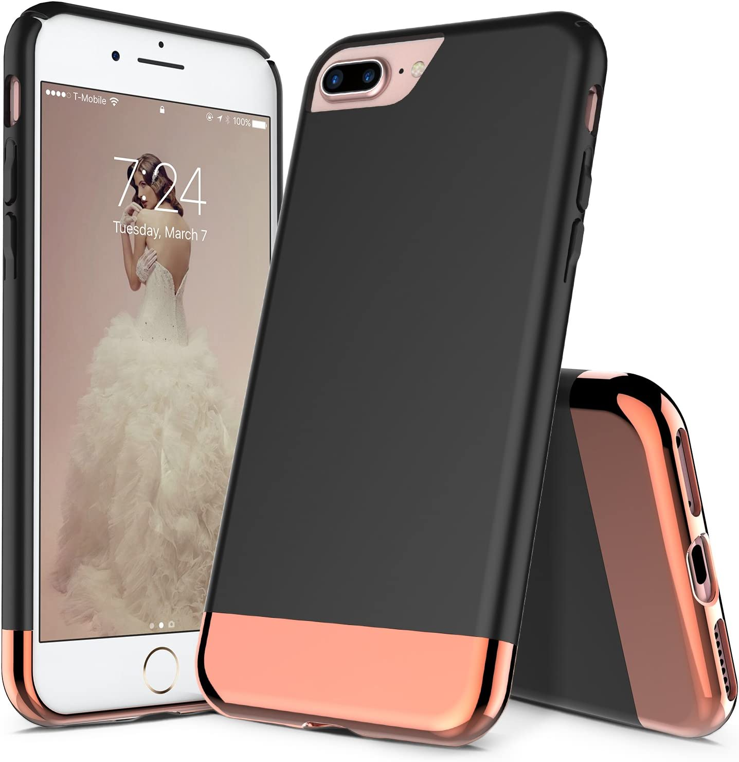 Amazon Com Ranz Iphone 7 Plus Case Iphone 8 Plus Case Black With Rose Gold Protective Slider Style Scratch Proof Hard Cover For Apple Iphone 7 Plus Iphone 8 Plus