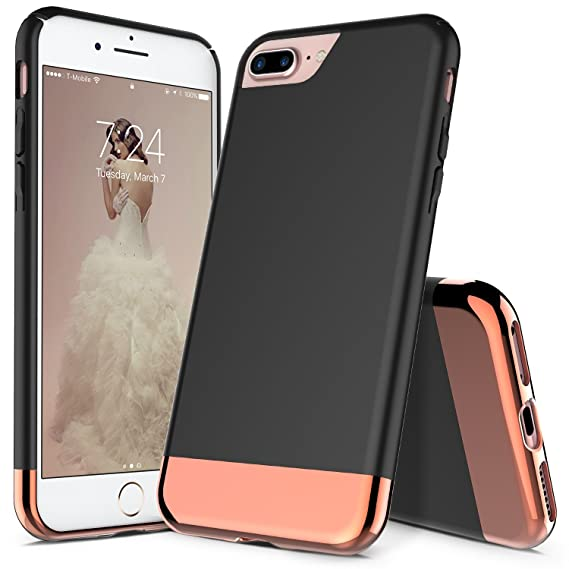detailed look 94c6d 1e8e4 iPhone 7 Plus Case, iPhone 8 Plus Case, RANZ Black with Rose Gold  Protective Slider Style Scratch Proof Hard Cover for Apple iPhone 7  Plus/iPhone 8 ...