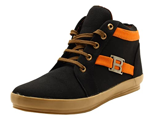b975579f2c5131 BOOMER Men s Black Denim High Top Shoes (7 UK)  Buy Online at Low Prices in  India - Amazon.in