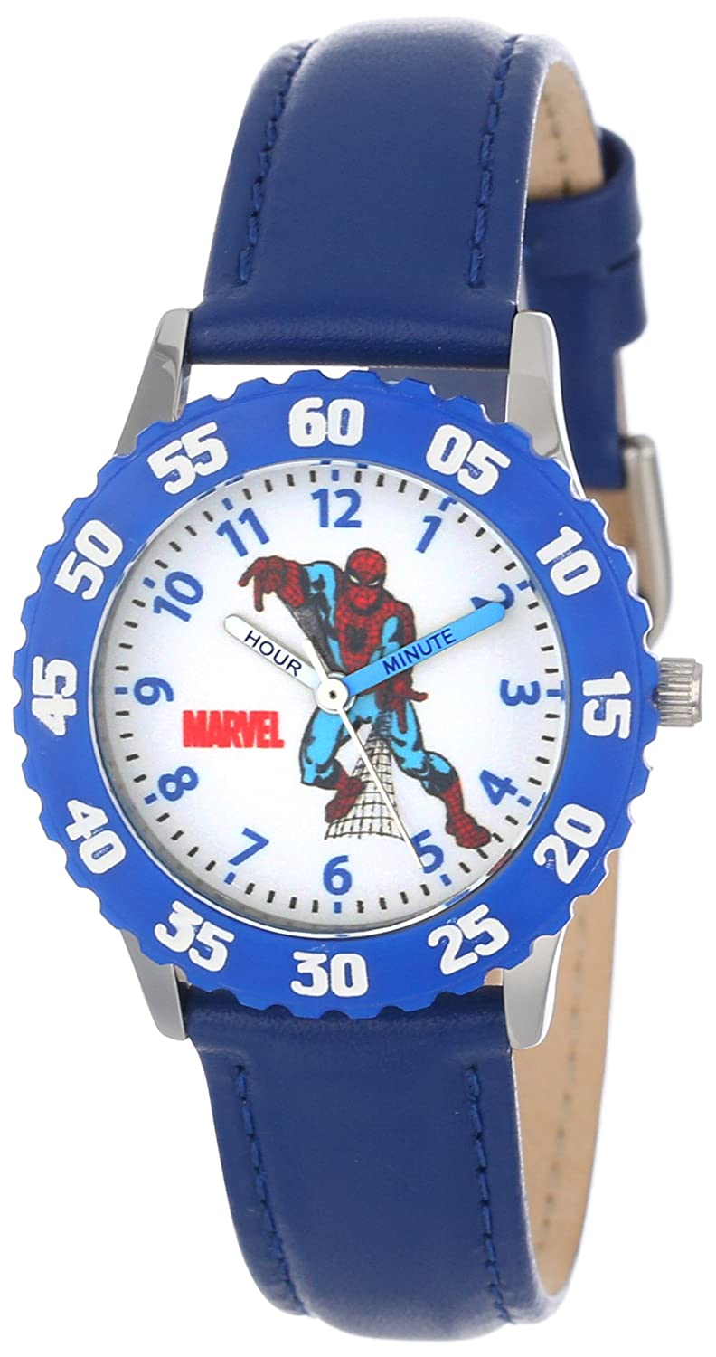 e6a665982 Amazon.com  Marvel Kids  W000108 Spider-Man Stainless Steel Time Teacher  Watch  Watches