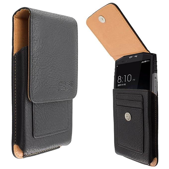 caseroxx Bolso al Aire Libre para Ulefone Power 5 aus de Cuero Real, Funda Carcasa para el cinturón en Negro