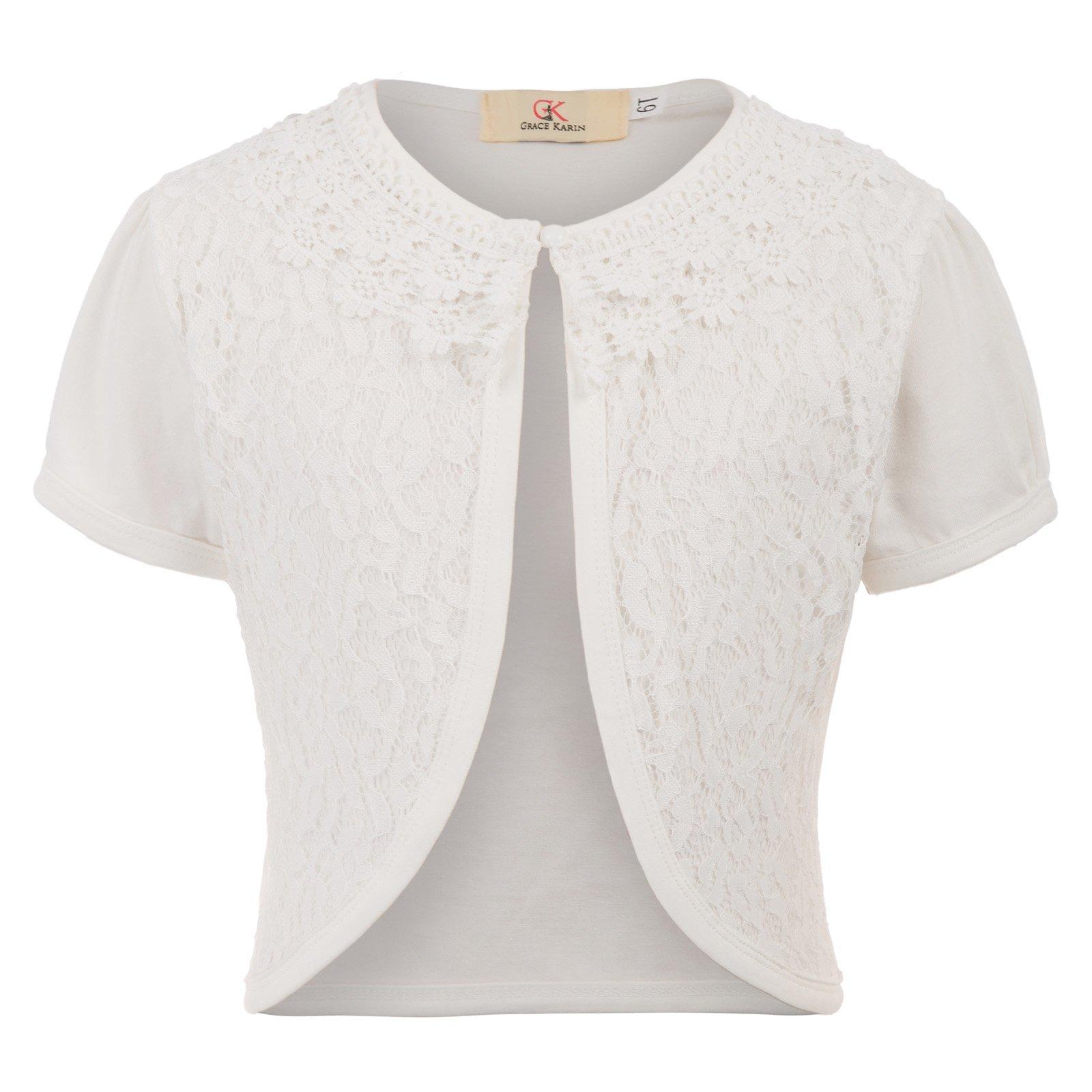 GRACE KARIN Cardigan Short Sleeve Button Cotton Sweater for Little Girls 10T CL774-2