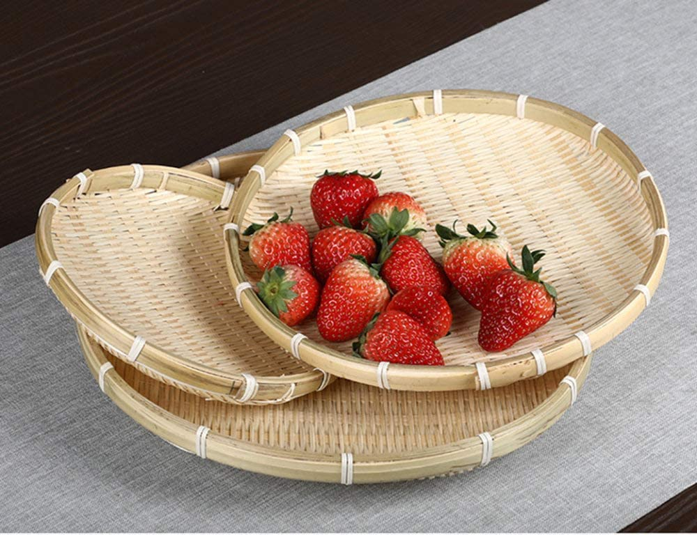 Sportmall Handmade Weaving Bamboo Sieve Bamboo Raft Round Dustpan Decorative Fruit Bread Basket