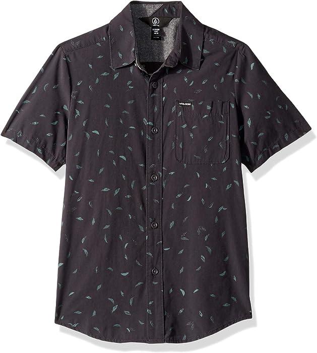 7b90469f Volcom Big Boys' Quency Dot Short Sleeve Button Up Shirt, Asphalt Black,  Small