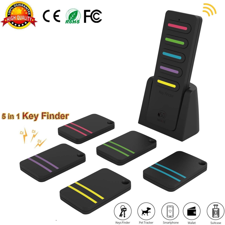 Wireless Key Finder Locator GPS Geldbörse Ältere Kinder Schlechte Erinnerung Pet Cell Gepäck Auto Anti-Verlorene Schlüsselsucher, SUNVITO Lange Standby-Zeit (1 Sender & 5 Empfänger)