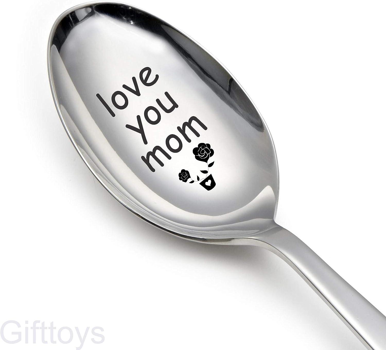 cuchara de t/é regalo para /él regalo para los amantes Mejores regalos para amigos Regalos par Cuchara grabada con texto en ingl/ésLove You Mom divertidos regalos regalo de cuchara