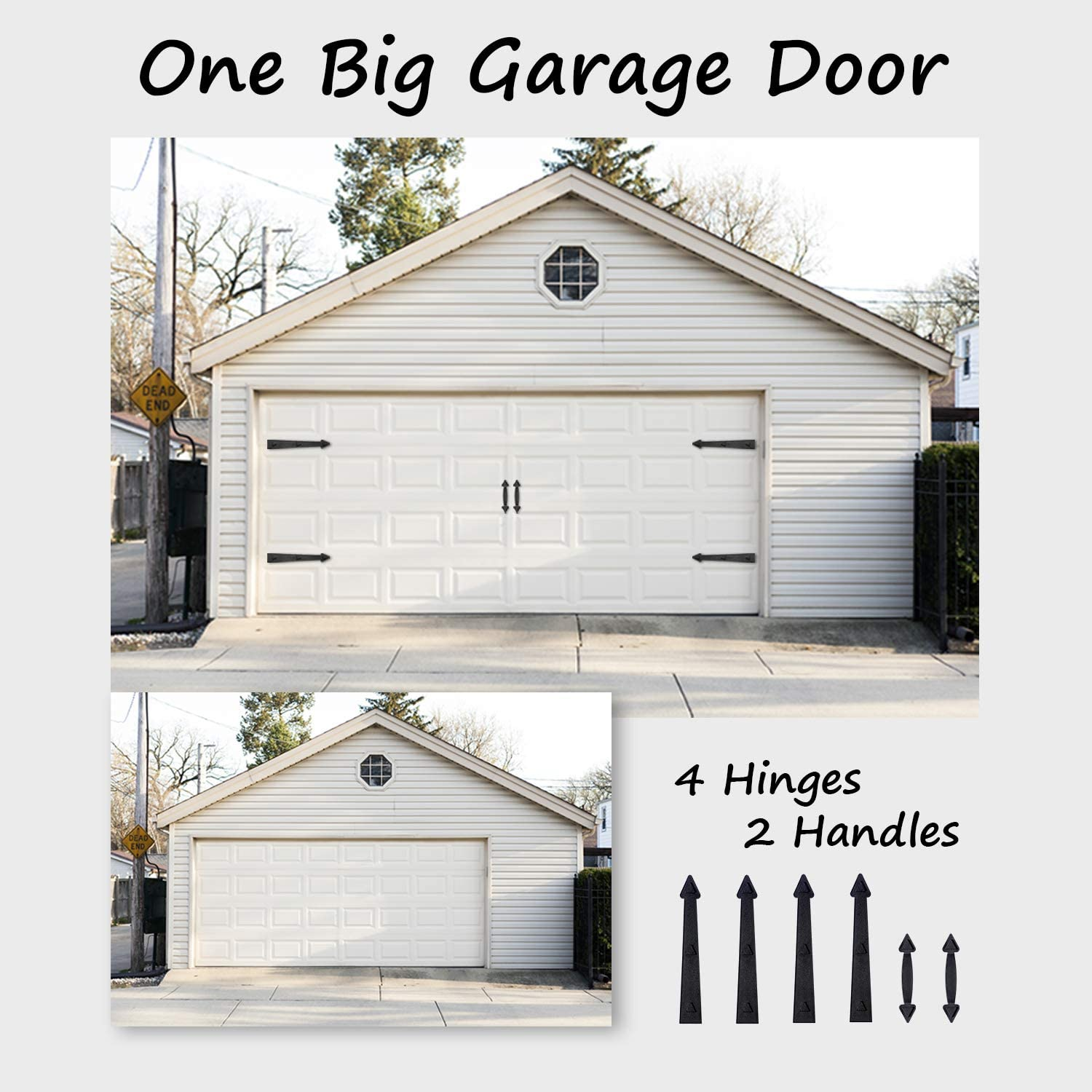Strong Magnets Color Black 6 Pieces Carriage Accents Faux Hinges SANKEYTEW Garage Door Magnetic Decorative Hardware Kit