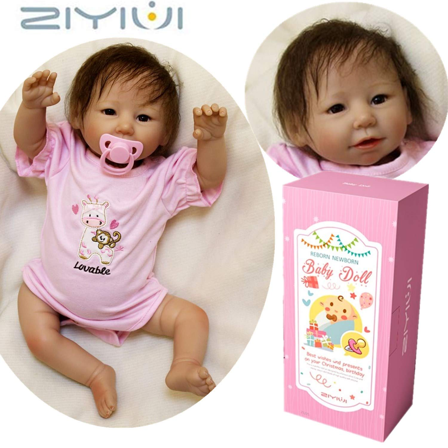 ZIYIUI Realistic Baby Dolls Reborn Babies Girl Lifelike Toddler Soft Silicone Newborn 20 inch Nurturing Dolls Magnetic Mouth Kids Toy