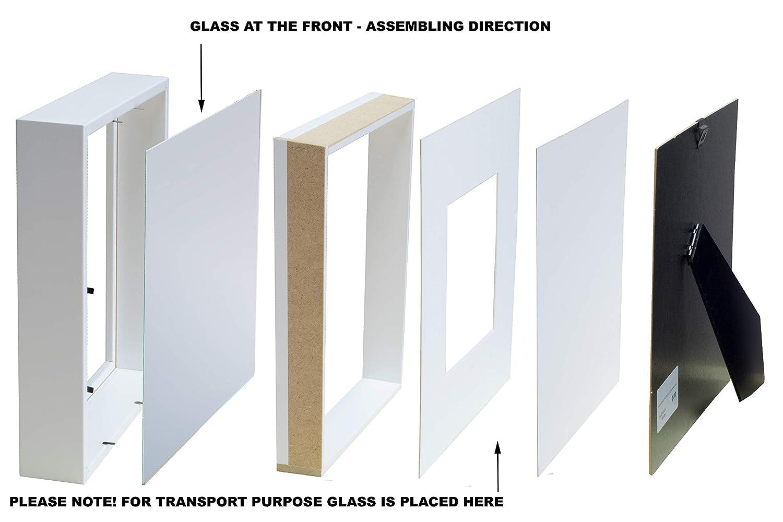 BD ART 23 x 23 cm Box 3D Marco de Fotos con Paspartu 13 x 13 cm, Blanco: Amazon.es: Hogar