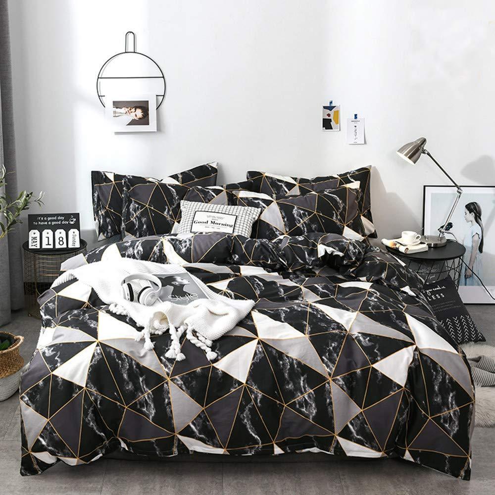 profession Black Marble Duvet Cover Bedding Set Queen Geometric Soft Lighweight Cotton Bedding Full Size for Men Women 1 Comforter Duvet Cover with 2 Pillow Shams