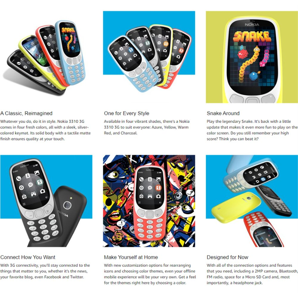 Nokia 3310 3g Unlocked Feature Phone Att T Mobile Cell Headphone Jack Wiring Metropcs Cricket H2o 24 Screen Azure Us Warranty Phones Accessories