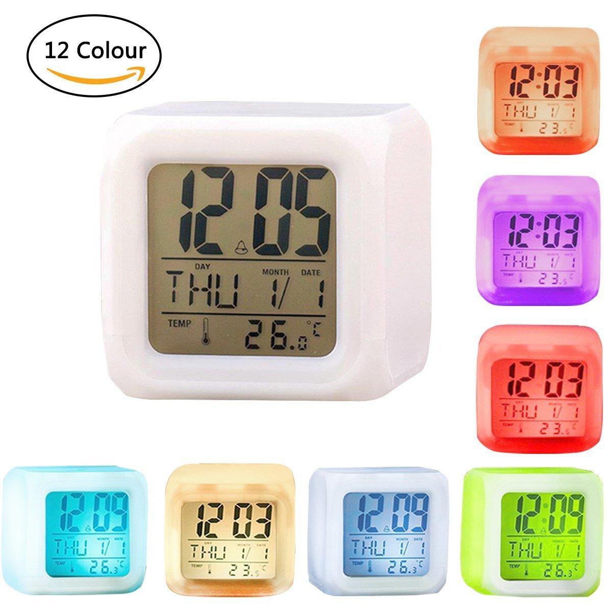 VanseRun Orologio sveglia digitale 7 LED cambia colore, con Display Tempo, Data, temperatura, funzione Sleep e sveglia