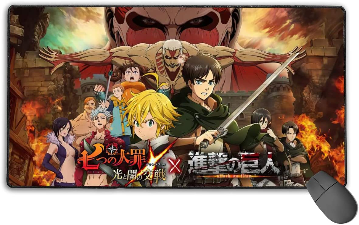 The Seven Deadly Sins Anime Mouse Pad Gaming Mouse Pads Non-Slip Rubber Base Mouse Pad Desk Accessories Keyboard Pad Large Size (29.5x15.8 in / 75x40cm) for Work Gaming Office Home