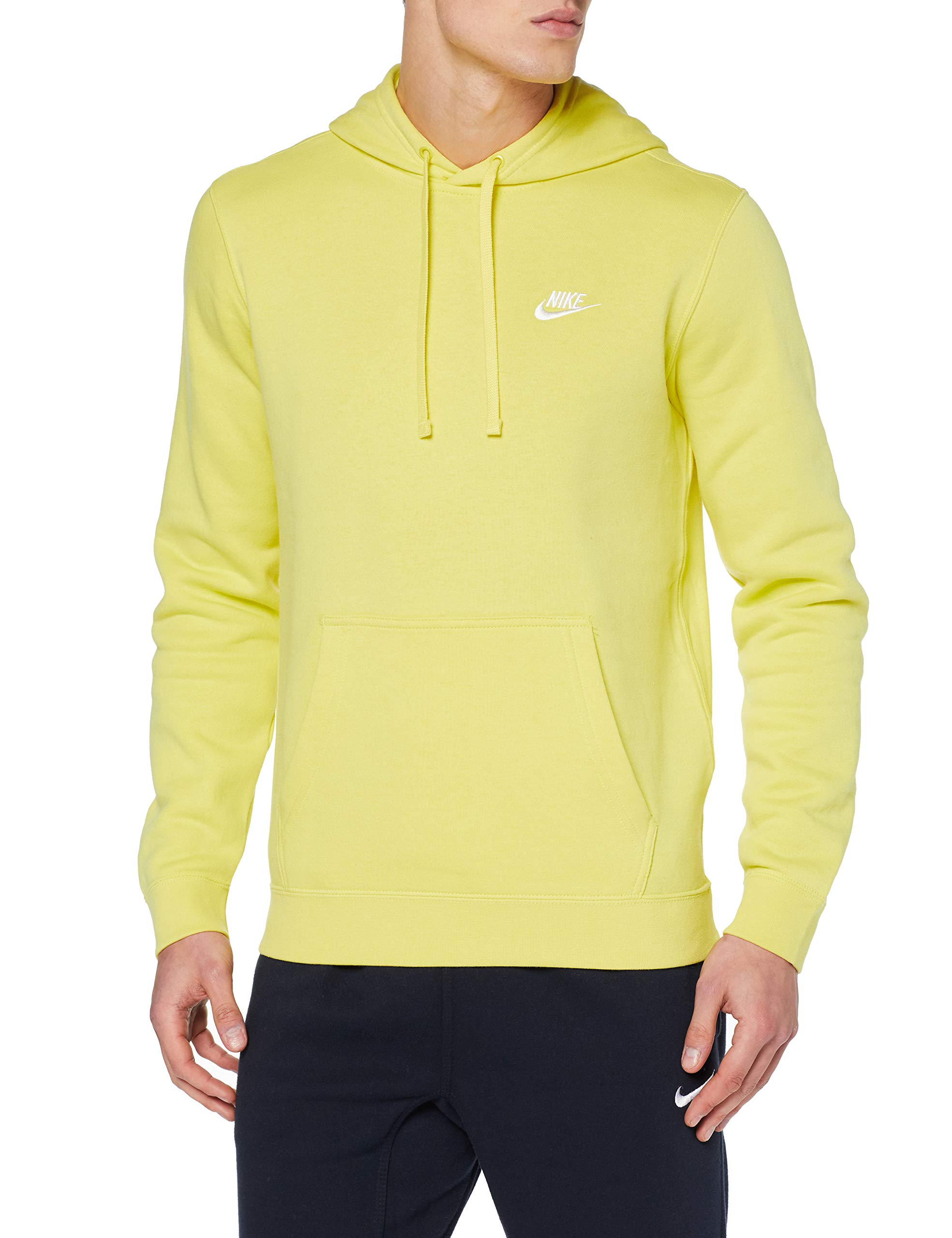 Nike Mens Sportswear Pull Over Club Hooded Sweatshirt Yellow Pulse/White 804346-657 Size Large