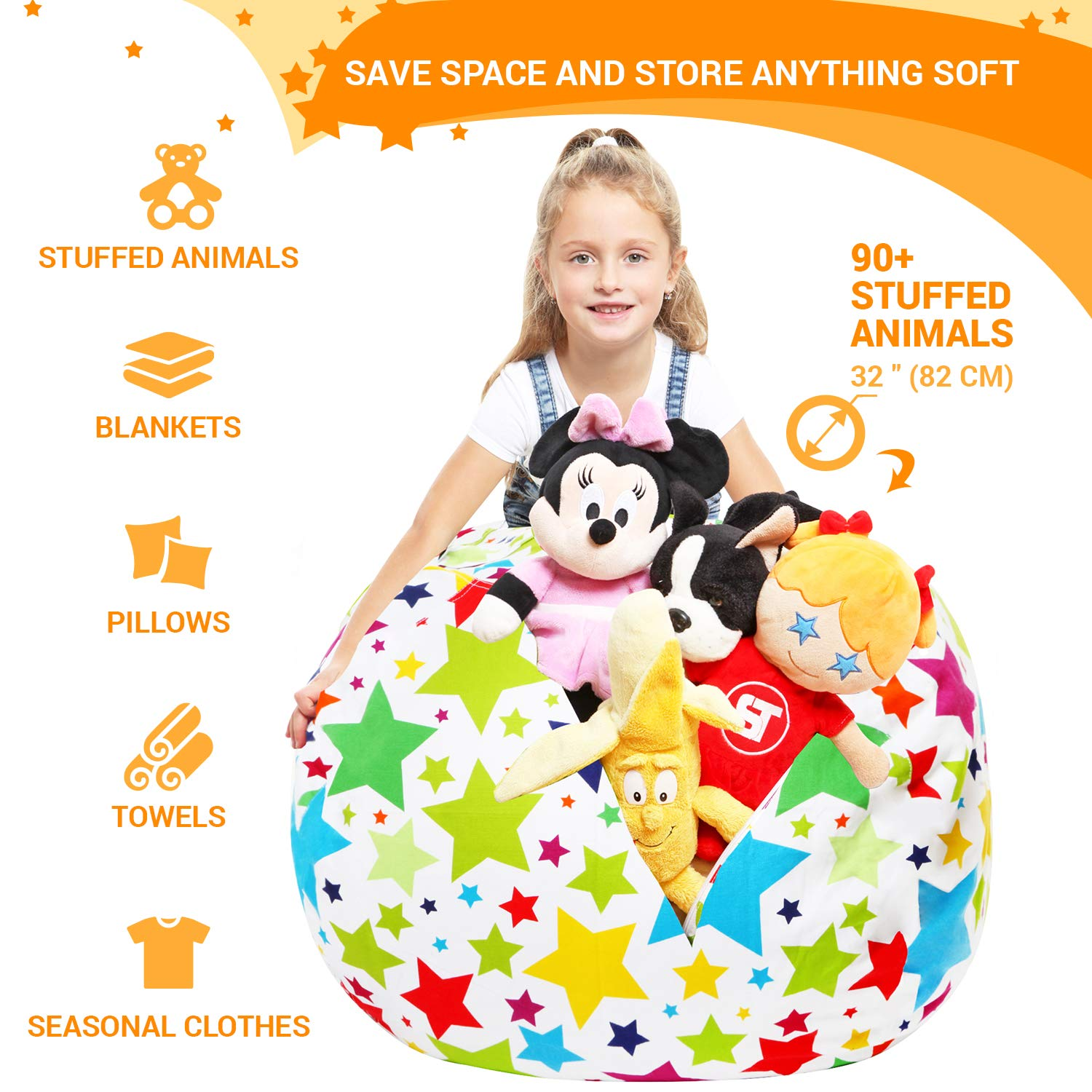 Stuffed Animal Storage Bean Bag - Cover Only - Large Beanbag Chairs for Kids - 90+ Plush Toys Holder and Organizer for Boys and Girls - 100% Cotton Canvas - Holiday Stars by 5 STARS UNITED (Image #2)