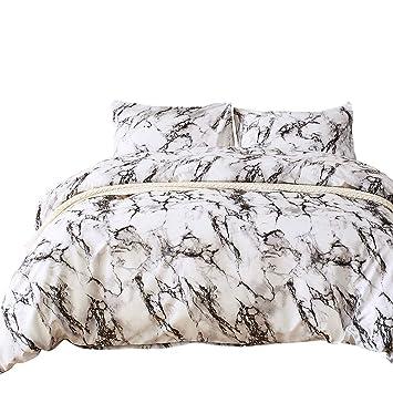 Ashanlan Bettwäsche Bettbezug Set 135x200cm Weiß Grau Marmor Muster