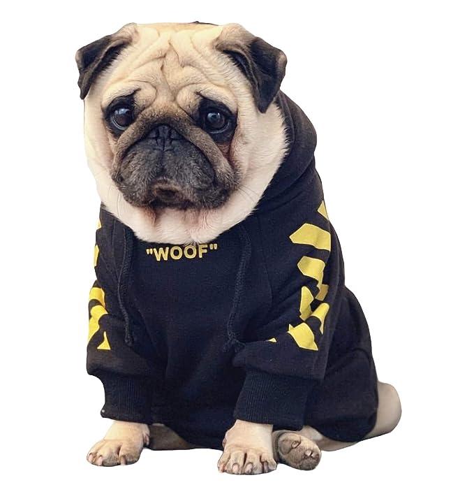 ChoChoCho Pet Clothing Woof White Cotton Hoodie Stylish Streetwear Sweatshirt Outfit for Dog Cat Puppy