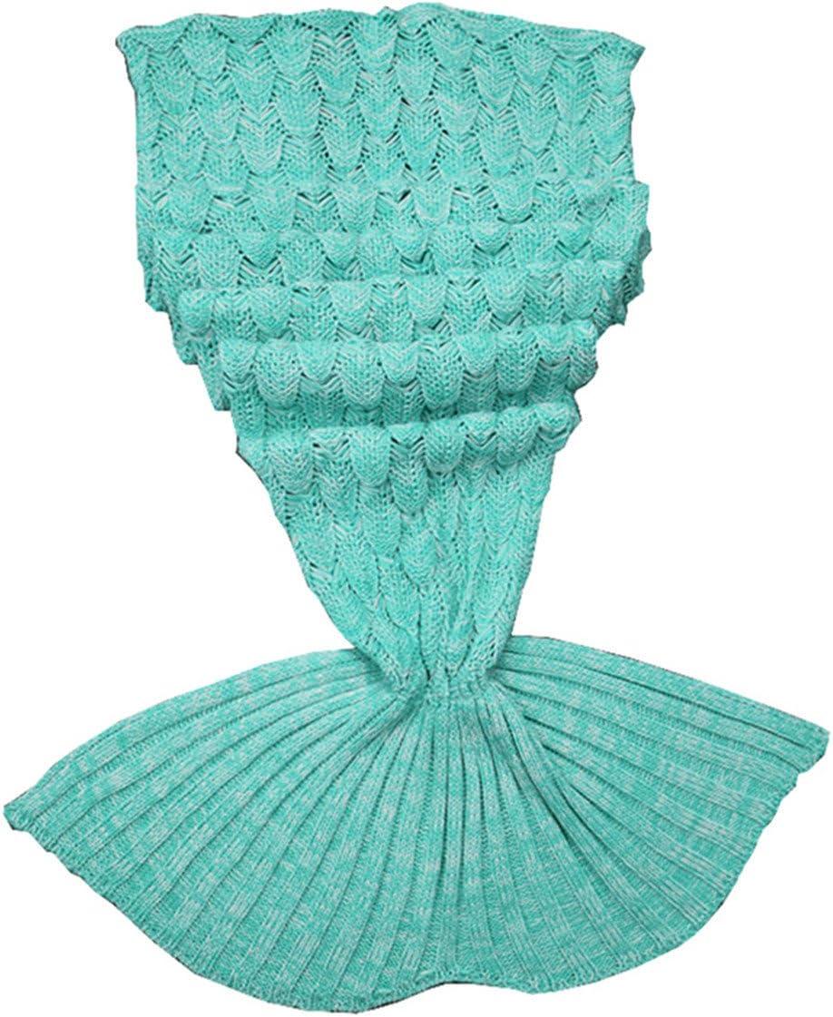 Triseaman Reina de la Cola de la Sirena Cobija Hecho Punto con Escala de Peces Sofá para Dormir Manta de Dormir Verde Niña