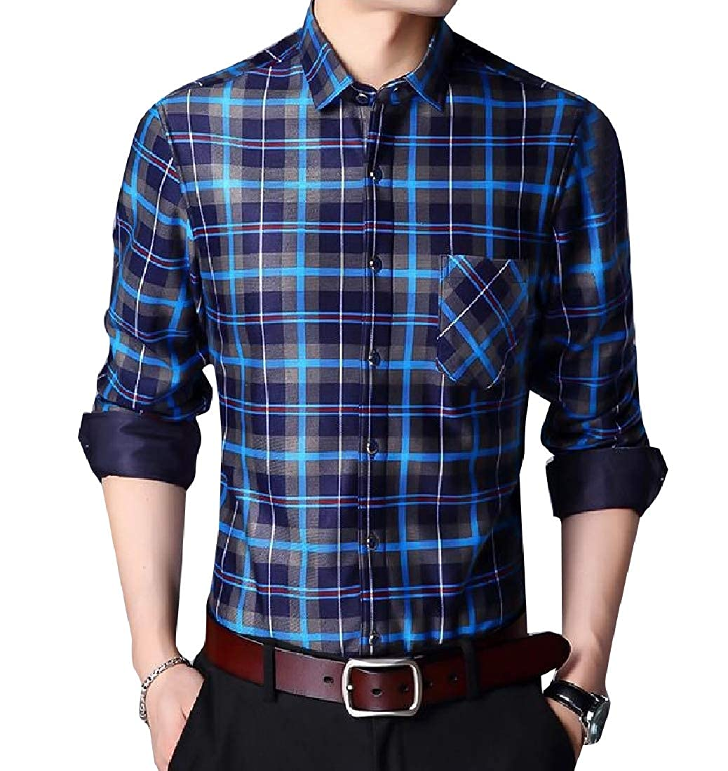 Comaba Mens Plus Size Classic Plaid Button Fleece Thicken Regular Shirt