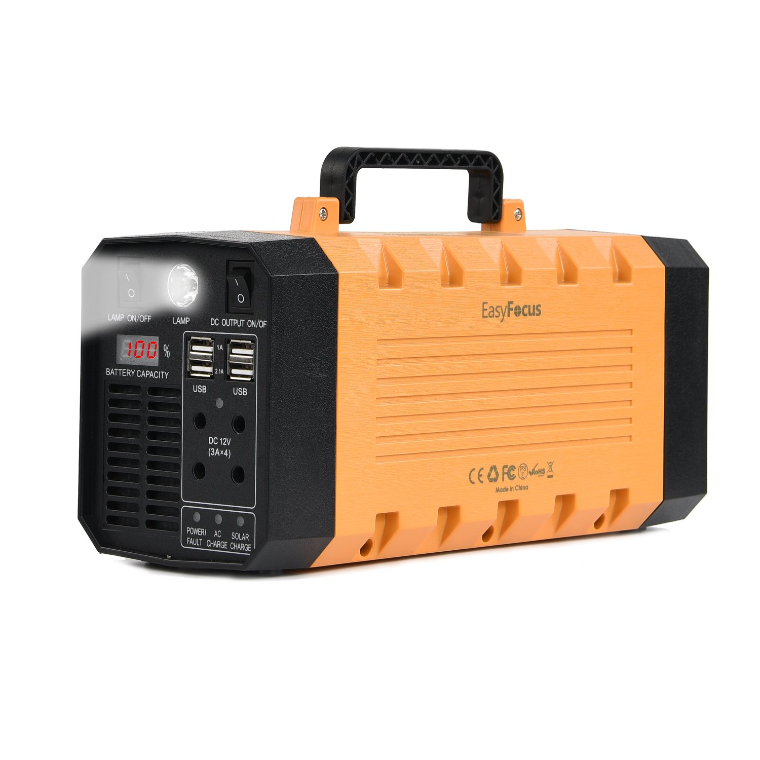 EasyFocus 500W 288WH Backup Portable Generator Solar Power Source 500W Pure Sine Wave Power Inverter UPS 26AH Li-on Battery CPAP Pack Home Camping Emergency Power Supply Charged by Solar/AC Outlet/Car