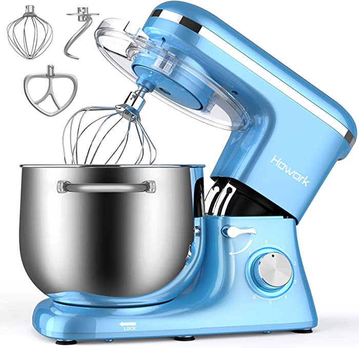 HOWORK Stand Mixer, 8.45 QT Bowl 660W Food Mixer, Multi Functional Kitchen Electric Mixer With Dough Hook, Whisk, Beater (8.45 QT, Blue)
