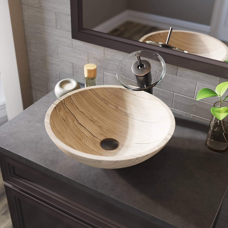 Bundle - 4 Items: Sink, Faucet, Pop Up Drain, and Sink Ring 852 Sandstone Vessel Sink Chrome Bathroom Ensemble with 718 Vessel Faucet MR Direct 852-718-C