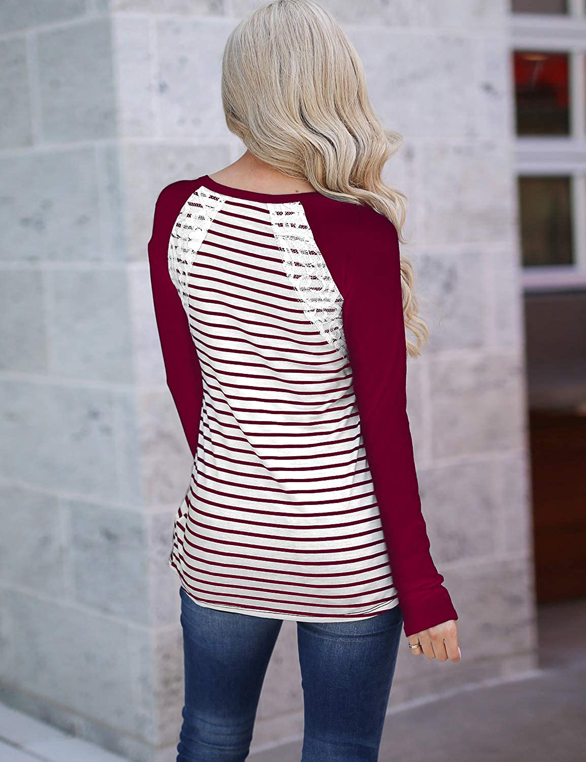Blooming Jelly Womens Striped Top Raglan Long Sleeve T Shirt Lace Patchwork Button Up Tunic Ladies Jumpers