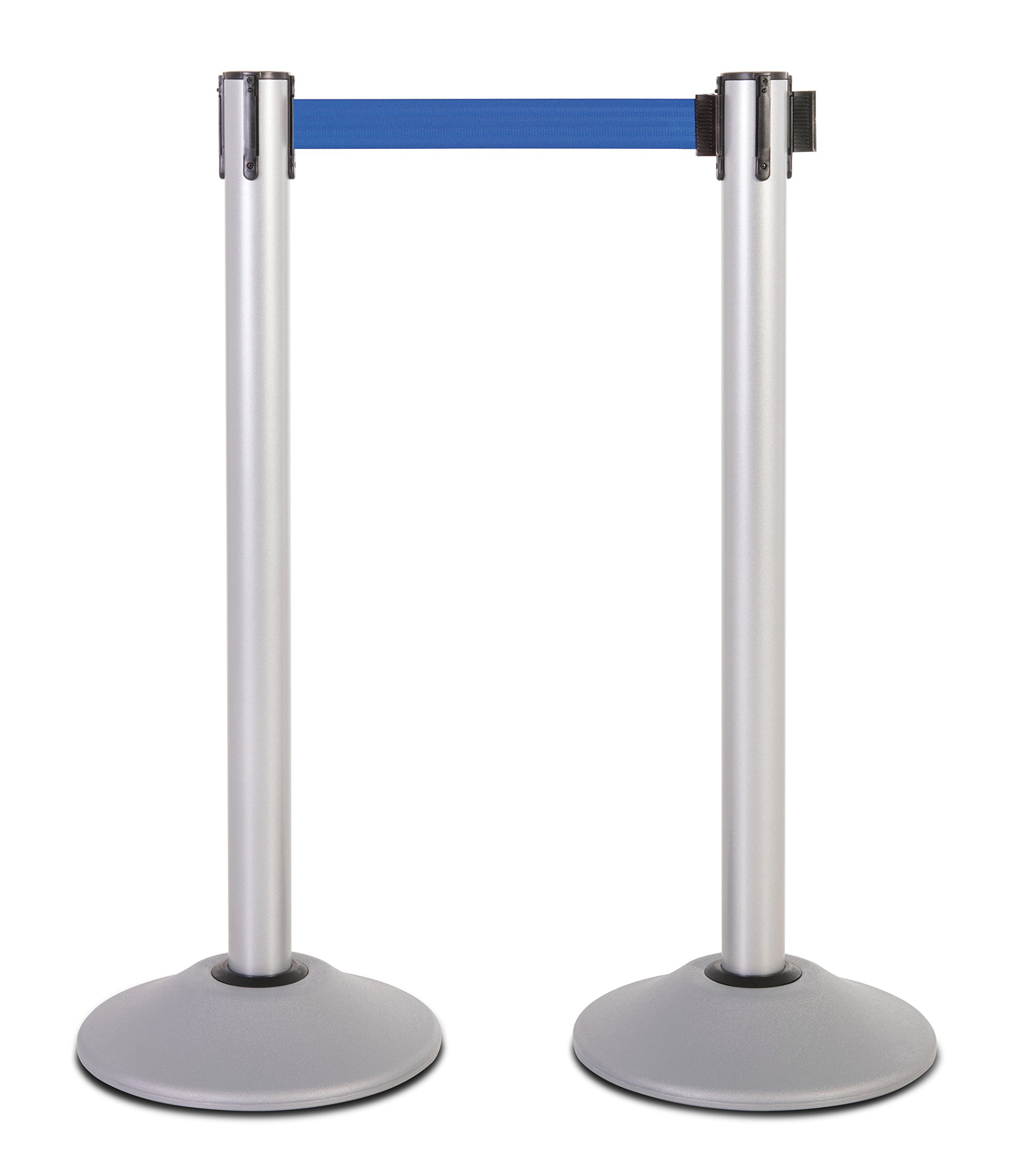 US Weight Heavy Duty Premium Silver Stanchion with 7.5-Foot Pro Retractable Belt (More Colors Available)