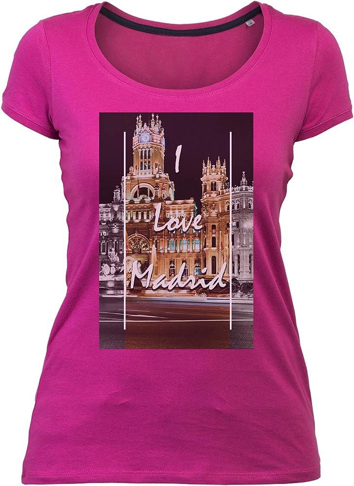 Wild Soul Tees Amo Madrid Capital de España - Camiseta para Mujer Rosa Rosa S: Amazon.es: Ropa y accesorios