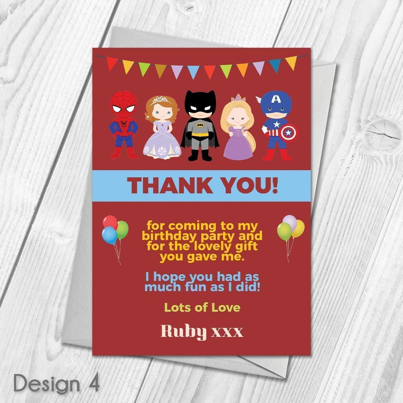 Princess and Superhero Thank You CardsPersonalised Kids Favours /& Envelopes