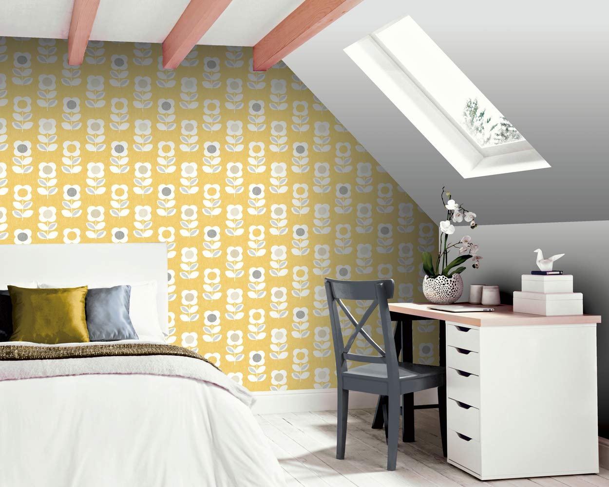 Arthouse Retro House Floral Yellow Wallpaper 902305 Feature Flower Motif