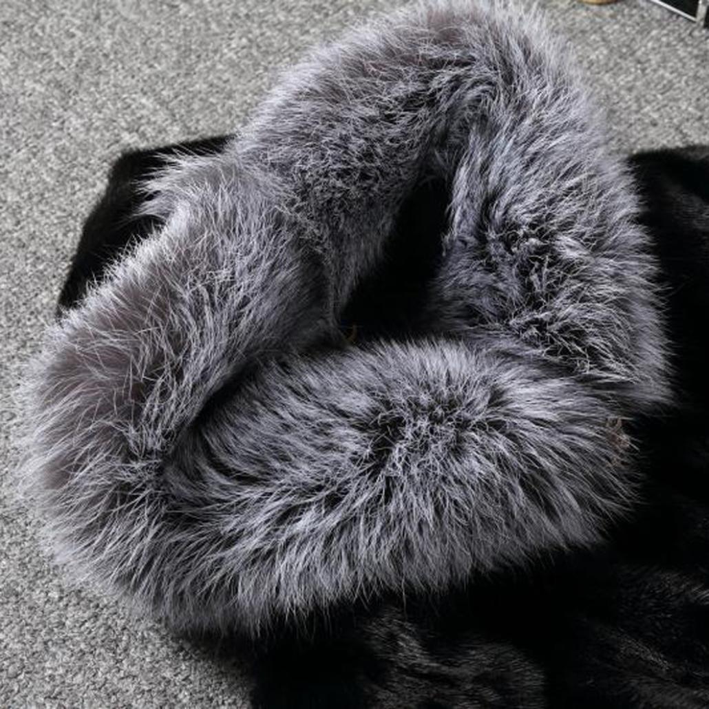 L, black SunWard Womens Fashion Long Sleeve Parka Outwear Fox Fur Coat
