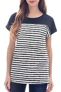 ff446cfd65b Smallshow Women s Tops Short Sleeve Striped Patchwork O-Neck Casual T Shirt