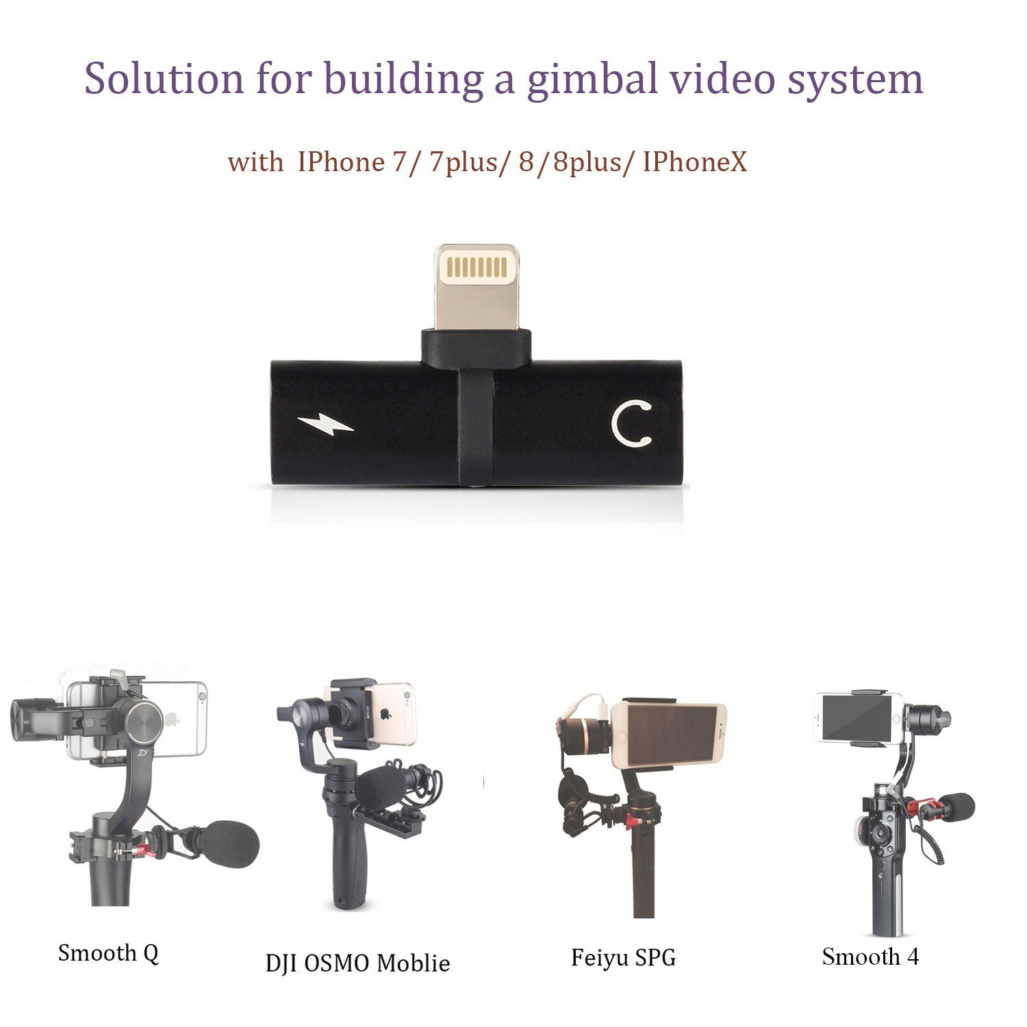 new product f86a0 d2aac HolaFoto 2in1 Adapter, Charge and Earpod Audio Adapter Attach Microphone to  Gimbal Such As Zhiyun Smooth Q 4 3 DJI Osmo Mobile 2 Feiyu SPG for iPhone  ...
