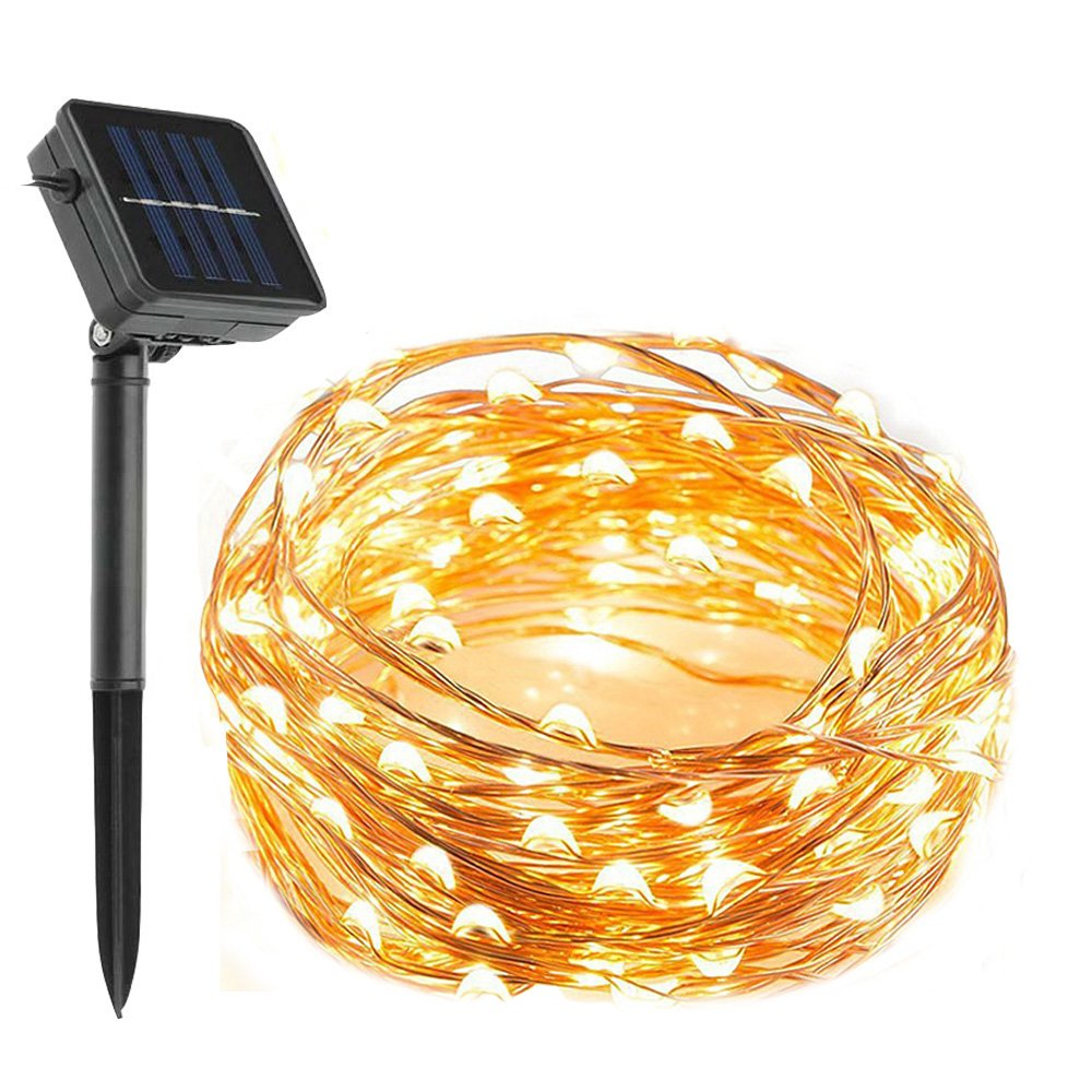KEEDA Copper Wire Lights, (100LED 39.37ft/12m) Waterproof Solar Fairy Starry String Lights, Solar Christmas Lights, Garden Outdoor Light, Outdoor Solar Ambiance Lighting for Christmas Tree Decoration -2 Modes (Steady on /Flash)-Blue