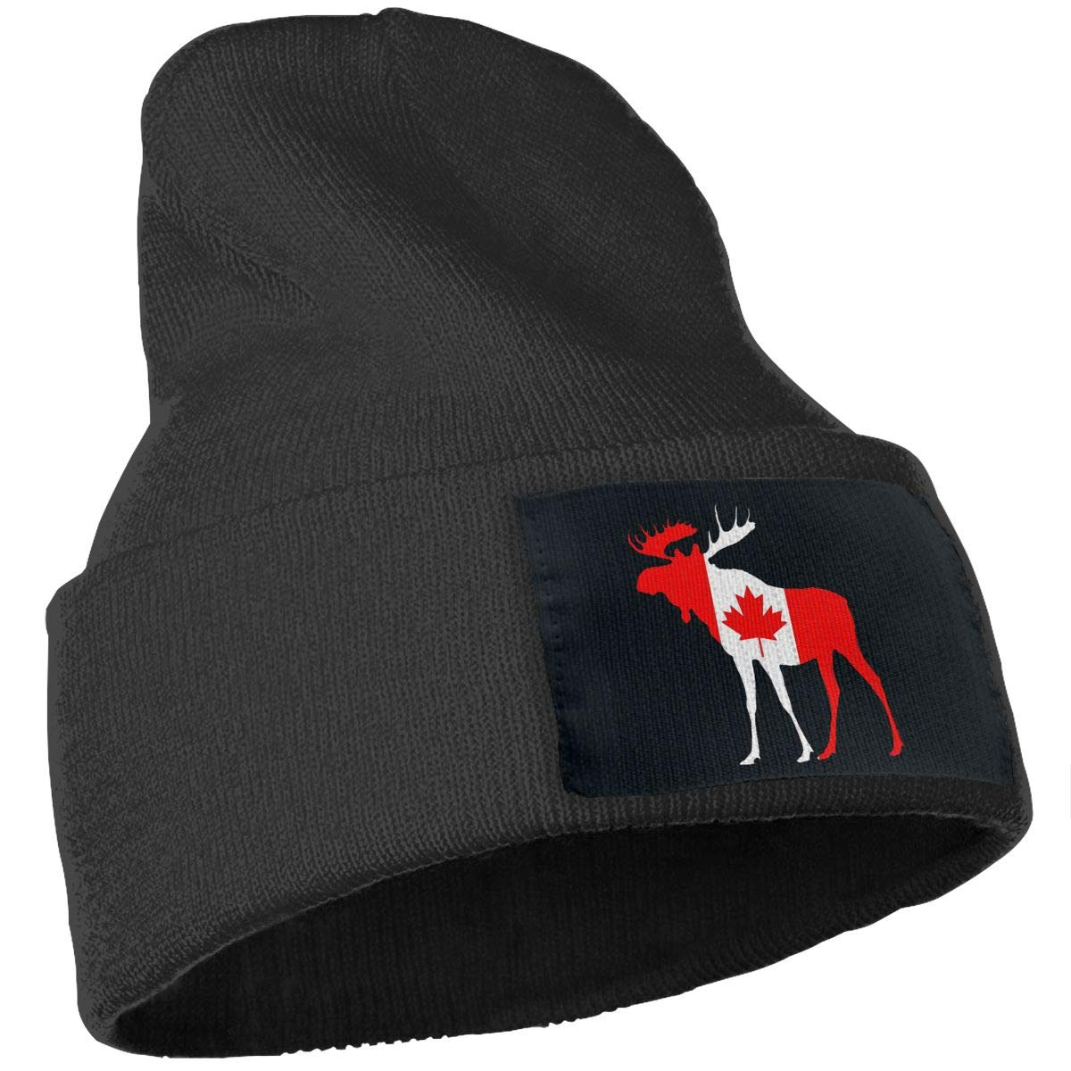 JimHappy Canada Flag Moose Winter Warm Hats,Knit Slouchy Thick Skull Cap Black
