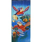 ABeadedCurtain 125 String Sea Turtles Beaded Curtain 38% More Strands Handmade with 4000 Beads (+Hanging Hardware)