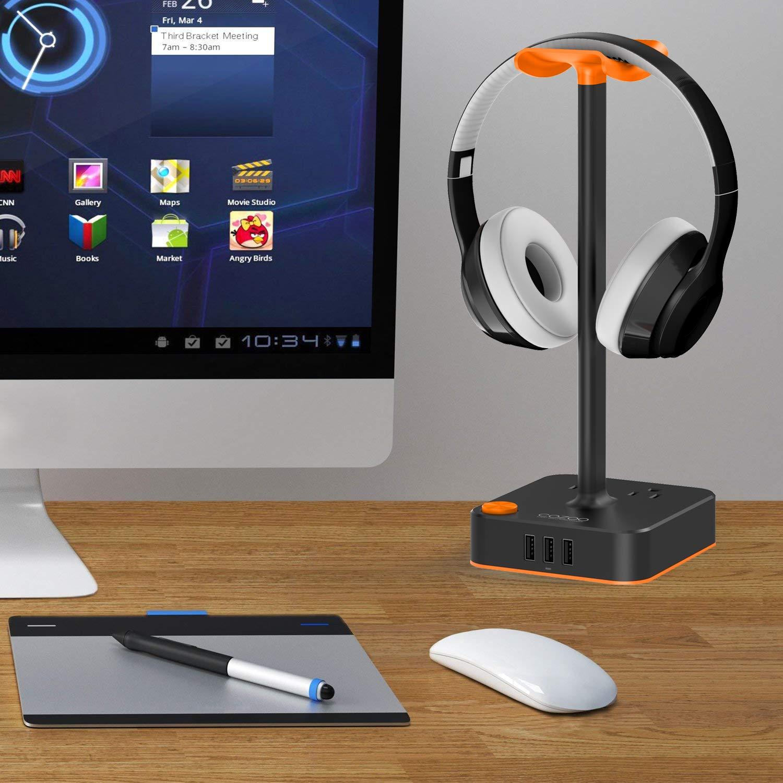 Soporte para auriculares con auriculares para juegos de escritorio cargador USB cozoo soporte percha con 3 USB estación de carga y 2 salidas - Regleta de ...