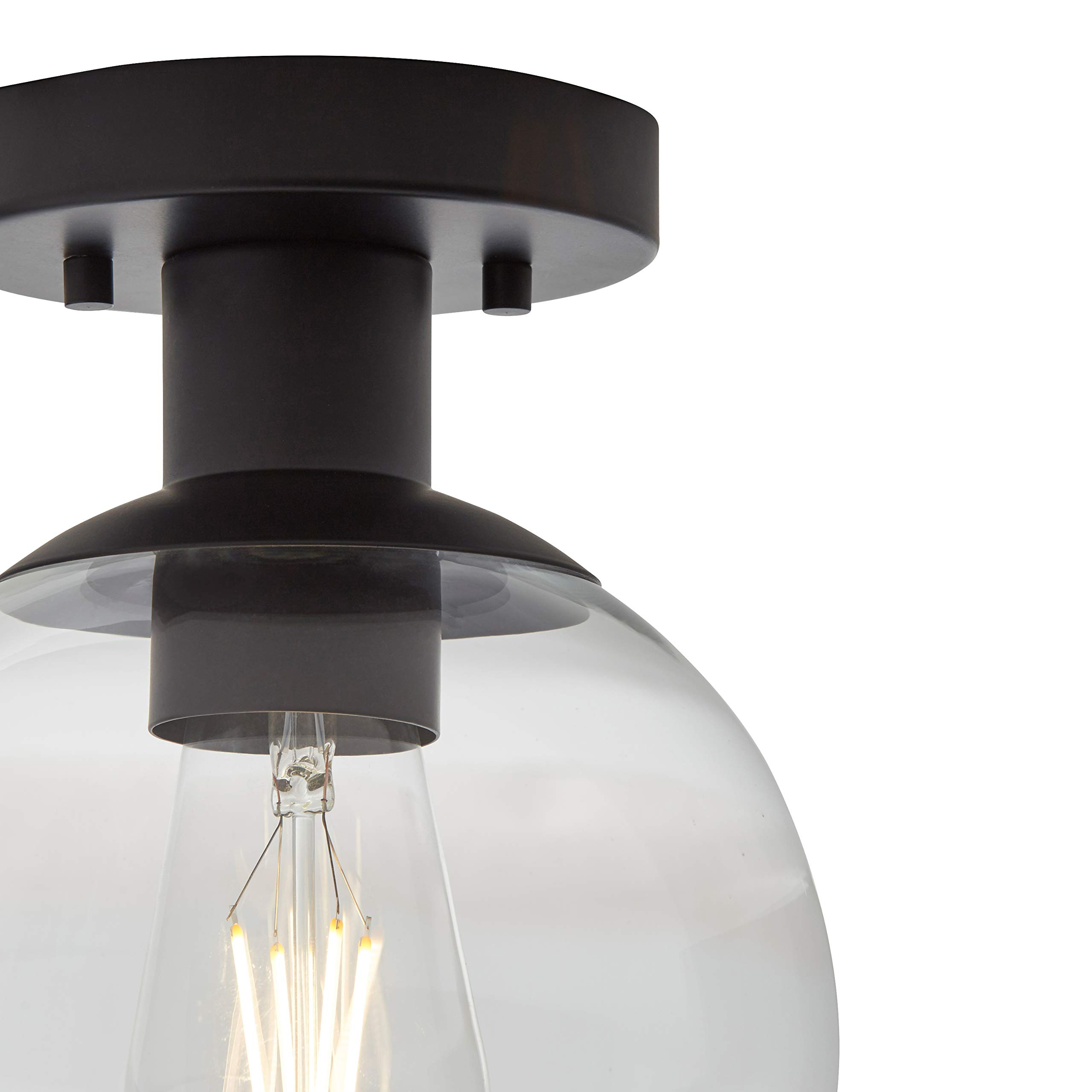 Rivet Mid-Century Flush-Mount with Bulb, 8.875''H, Black by Rivet (Image #4)