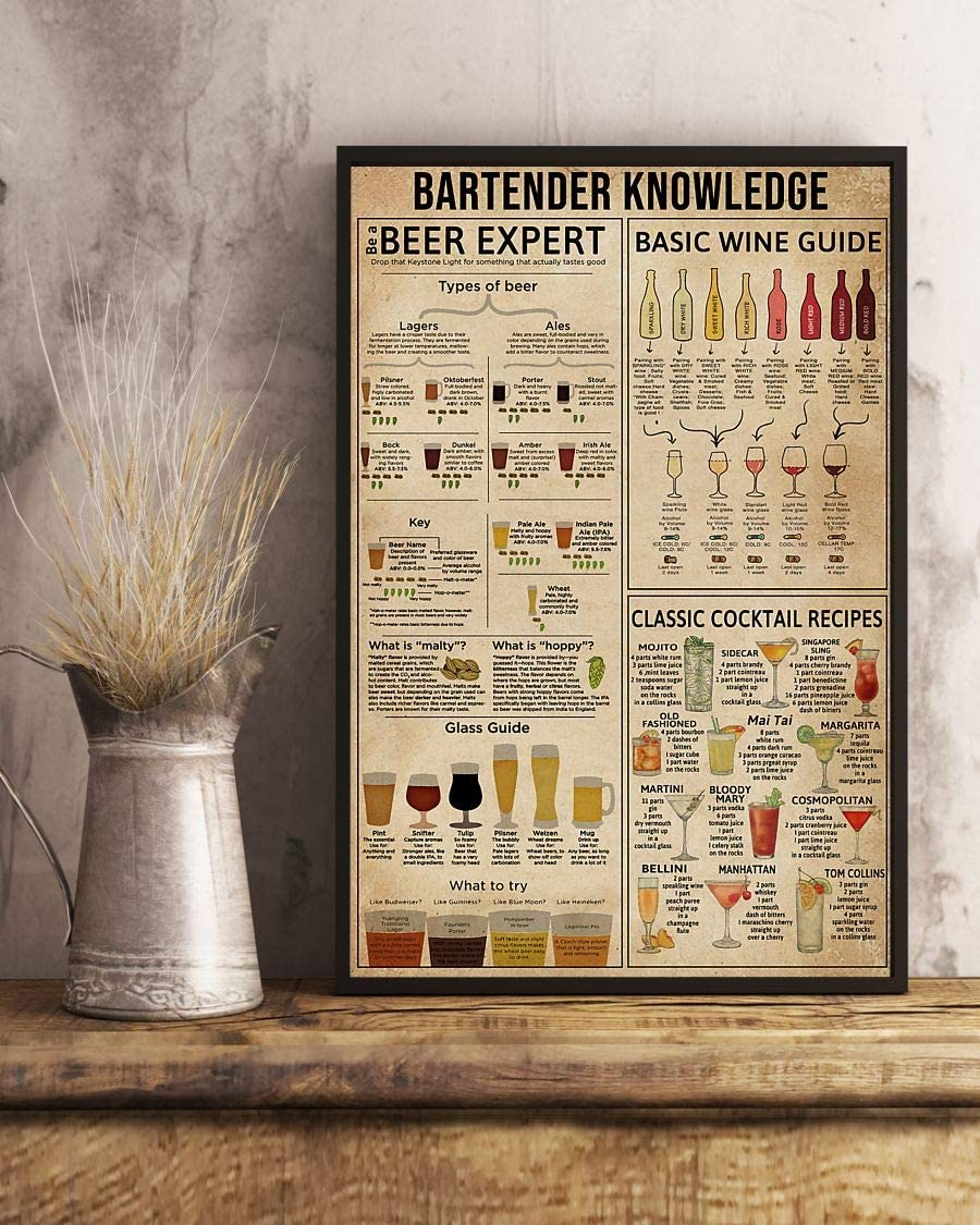HolyShirts Bartender Knowledge Beer Expert Basic Wine Guide Classic Cocktail Recipes Poster (16 inches x 24 inches)